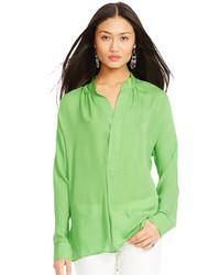 Silk split neck blouse medium 175478