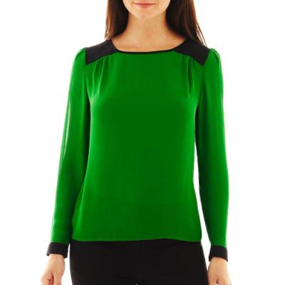 9e58879c3f3e59 Worthington Colorblock Blouse Premiere Green 9 Jcpenney. Jcpenney  Worthington Long Sleeve On Front Blouse