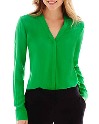 Worthington long sleeve button front blouse medium 174990