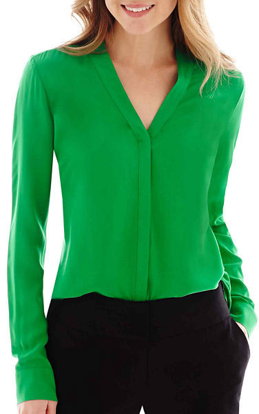 067822aced75d3 ... Green Long Sleeve Blouses jcpenney Worthington Long Sleeve Button Front  Blouse ...