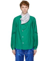 Kiko Kostadinov Green Grey Anthonis Pleated Shirt