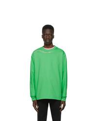 SSENSE WORKS Jeremy O Harris Green Cursive Text Long Sleeve T Shirt