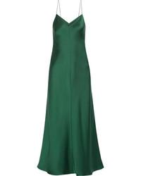Guinevere silk satin maxi dress emerald medium 4393923