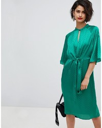 Vero Moda Tie Front Midi Dress In Green