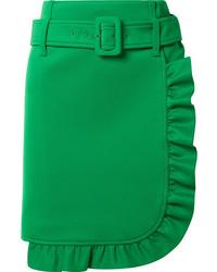 Prada Ruffled Tech Jersey Mini Skirt