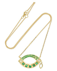 Brooke Gregson 18 Karat Gold Emerald And Diamond Necklace