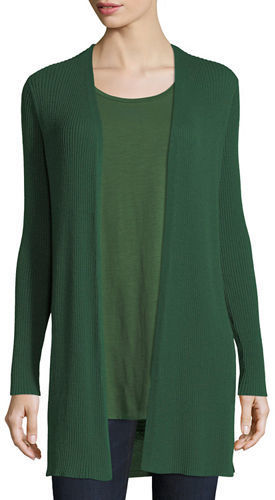afd499d0bb2 Eileen Fisher Long Straight Wool Crepe Cardigan, $298 | Neiman ...