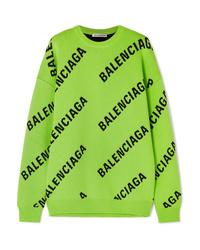 Balenciaga Oversized Intarsia Cotton Blend Sweater