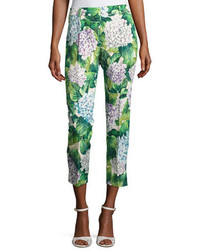 Dolce & Gabbana Hydrangea Brocade Cropped Straight Leg Pants Green