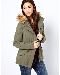 Only Faux Fur Hood Parka Green