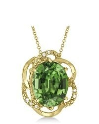 Allurez Green Amethyst Diamond Flower Shaped Pendant 14k Yellow Gold