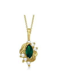 Allurez Marquise Emerald Diamond Pendant In 14k Yellow Gold