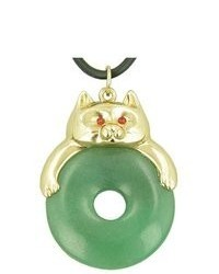 Best Amulets Fortune Cat Lucky Donut Money Talisman Green Aventurine Pendant Necklace