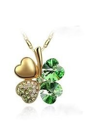 BlueChipUnlimited Blue Chip Unlimited 18k Gold Sage Green Drop Clover Pendant With 18 In 18k Rgp Necklace