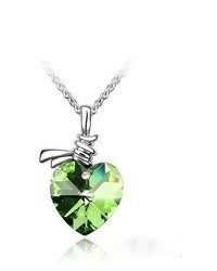 BlueChipUnlimited Blue Chip Unlimited Sage Green Crystal Twisted Heart Pendant With 18 In White 18k Rgp Necklace