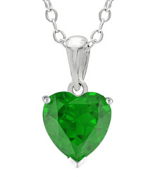 jcpenney Fine Jewelry Heart Shaped Lab Created Emerald Sterling Silver Pendant Necklace