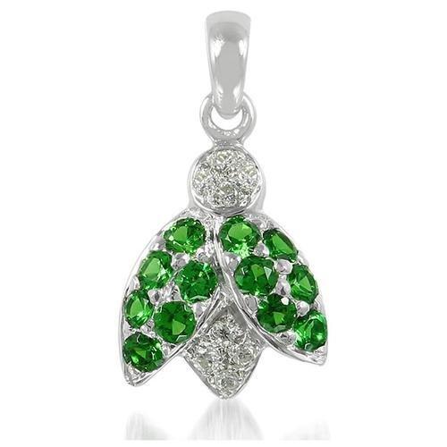 Gemorie 034 Ct Green Garnet Diamond 18k White Gold Ladybug Pendant
