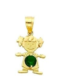 Goldenmine 14k Yellow Gold May Cz Birthstone Girl Charm Pendant