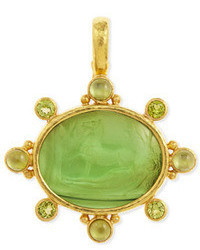 Elizabeth Locke Horse With Sleeping Maiden Antique 19k Gold Intaglio Pendant Green