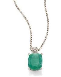 John Hardy Classic Chain Diamond Emerald Sterling Silver Pendant Necklace