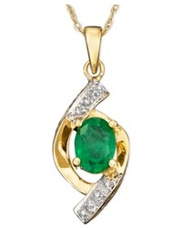 Macy's 10k Gold Pendant Emerald And Diamond Accent Oval Swirl