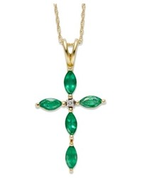 Macy's 14k Gold Necklace Emerald And Diamond Accent Cross Pendant
