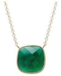 Macy's 14k Gold Over Sterling Silver Necklace Green Onyx Cushion Cut Pendant