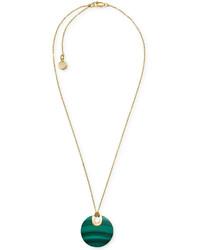 Michael Kors Michl Kors Gold Tone Opaque Stone Disc Pendant Necklace