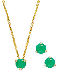 Kate Spade New York 14k Gold Plated Stone Stud Earrings And Pendant Necklace Set