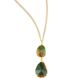 Panacea Double Tiered Green Crystal Pendant Necklace
