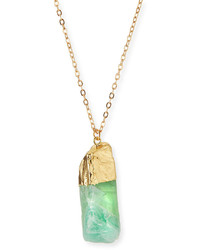 Panacea Long Green Quartz Pendant Necklace
