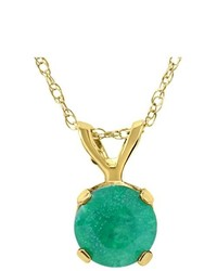 Pompeii3 100ct Genuine Emerald Solitaire Pendant 14k Yellow Gold