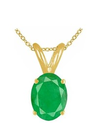Pompeii3 100ct Genuine Oval Emerald Solitaire Pendant 14k Yellow Gold