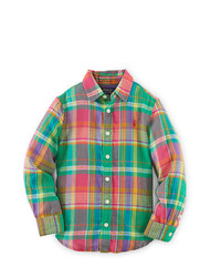 Green Plaid Long Sleeve Shirt