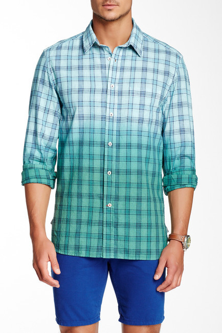 bfc9a3d9be ... Nordstrom Rack › Green Plaid Long Sleeve Shirts Benson New York Dip Dye  Plaid Long Sleeve Regular Fit Linen Shirt ...