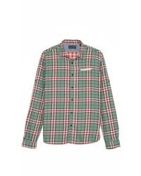 Bonded plaid shirt with leather pocket medium 8823