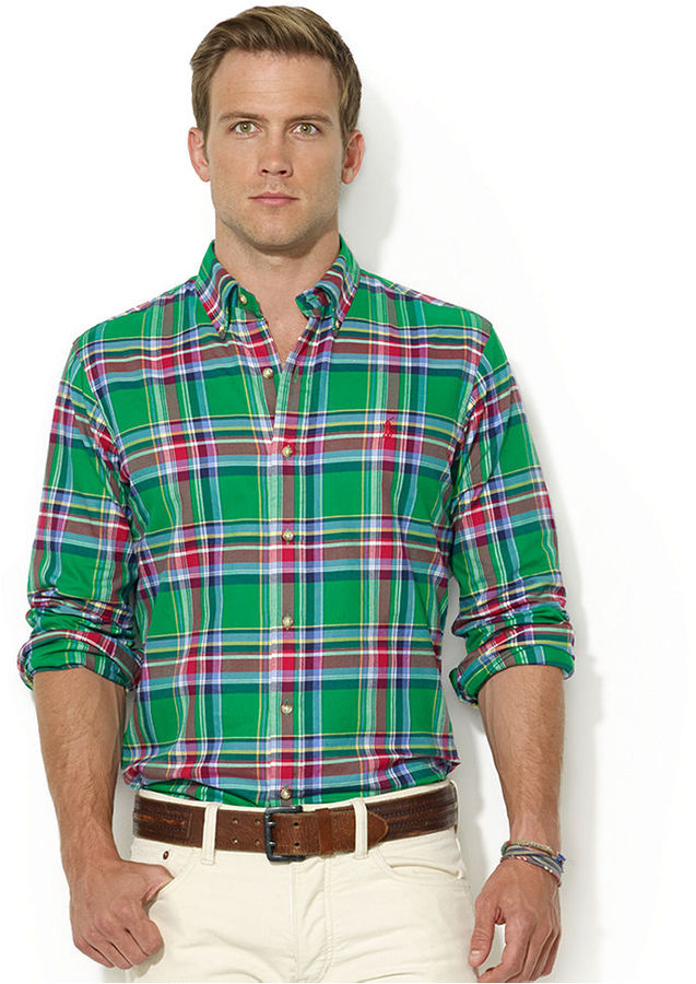 ... Polo Ralph Lauren Shirt Custom Fit Long Sleeve Plaid Twill Shirt