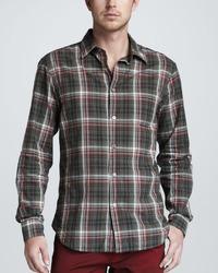 Star usa plaid long sleeve shirt red medium 8824