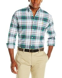U s polo assn long sleeve plaid oxford button down sport shirt slim fit medium 316719