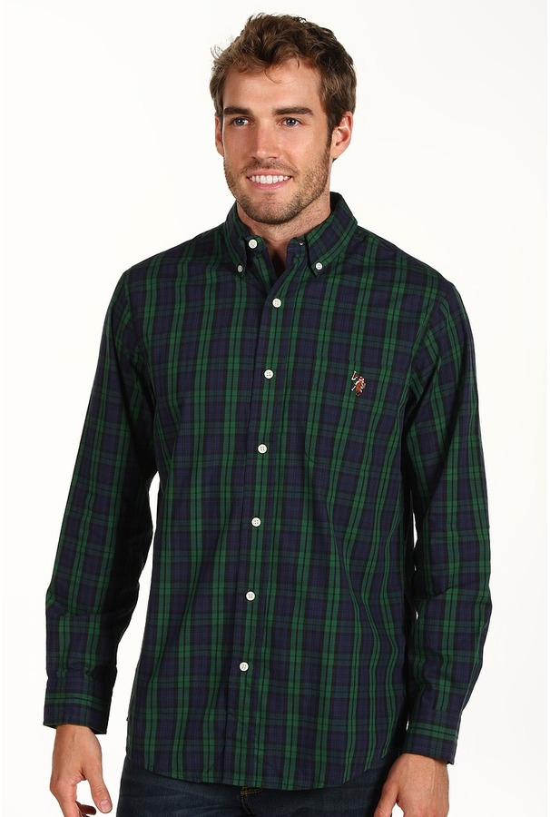 U.S. Polo Assn. Us Polo Assn Yd Oxford Plaid Shirt Long Sleeve ...