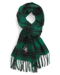 Polo Ralph Lauren Embroidered Bear Plaid Wool Blend Scarf