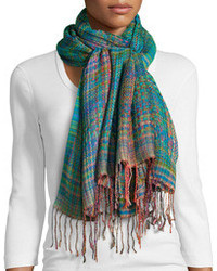 Vismaya woven plaid long fringe scarf green medium 93611