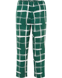Marni Printed Cotton And Flax Blend Slim Leg Pants