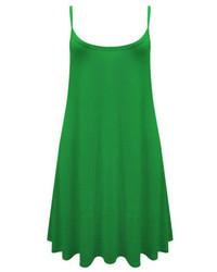 Spaghetti Strap Pleated Green Dress