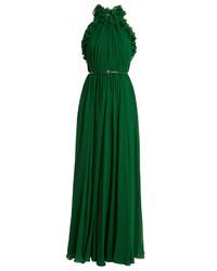 Gathered halterneck silk georgette gown medium 6571476