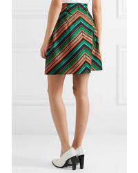 f1aa17eeab DELPOZO Pleated Metallic Jacquard Mini Skirt Green, $1,500   NET-A ...