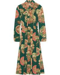 Gucci Pleated Printed Silk Crepe De Chine Midi Dress Green