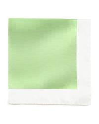 Kiton Mini Striped Silk Pocket Square Green