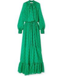 MSGM Pussy Bow Polka Dot Silk Chiffon Maxi Dress