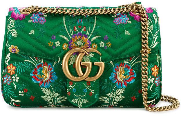 b452d0da9131b ... Gucci Green Floral Marmont 20 Shoulder Bag